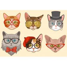 Палитра. Холст с краск. 30х40 см по номер. в кор.(18 цв.) Забавные коты в очках (Арт. ХК-5844)