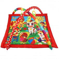Детский игровой коврик любимые друзья, с погремушками на подвеске в пак.