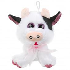 Игрушка мягкая корова с бантиком, 18см, без чипа, в пак.